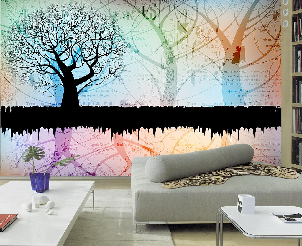 欧美复古潮流树林树木剪影电视背景墙