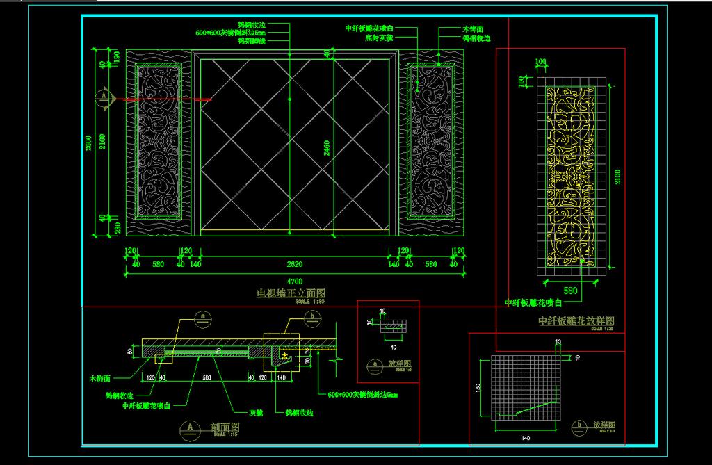 cad电视墙施工图模板下载(图片编号:12164755)
