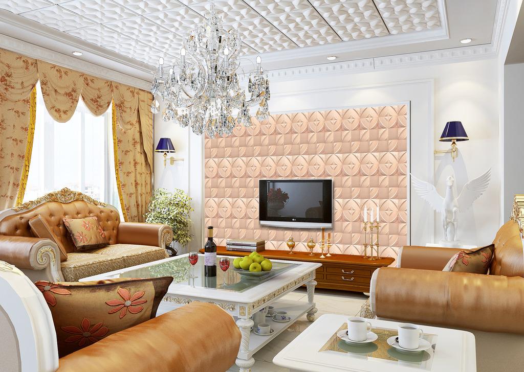 欧式3d浮雕立体软皮花纹电视背景墙