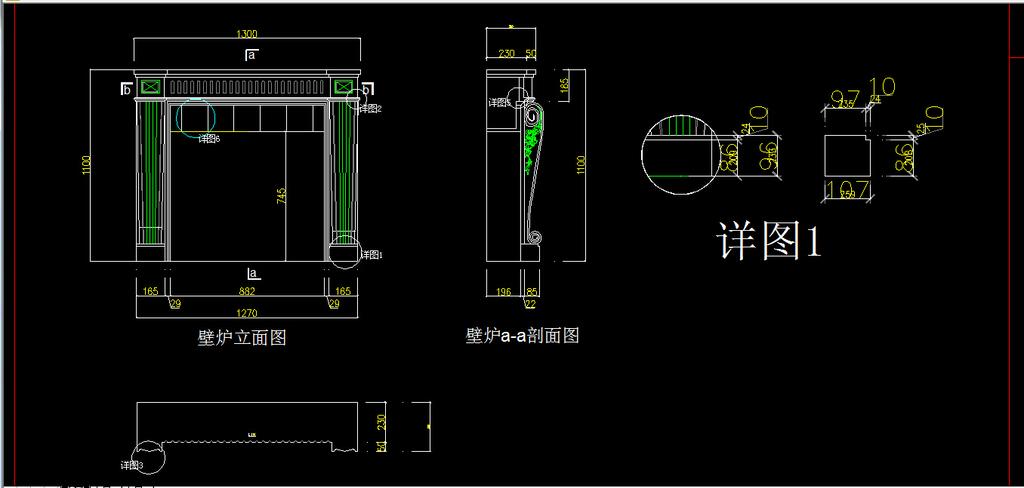 室内装修壁炉cad图纸设计下载图库