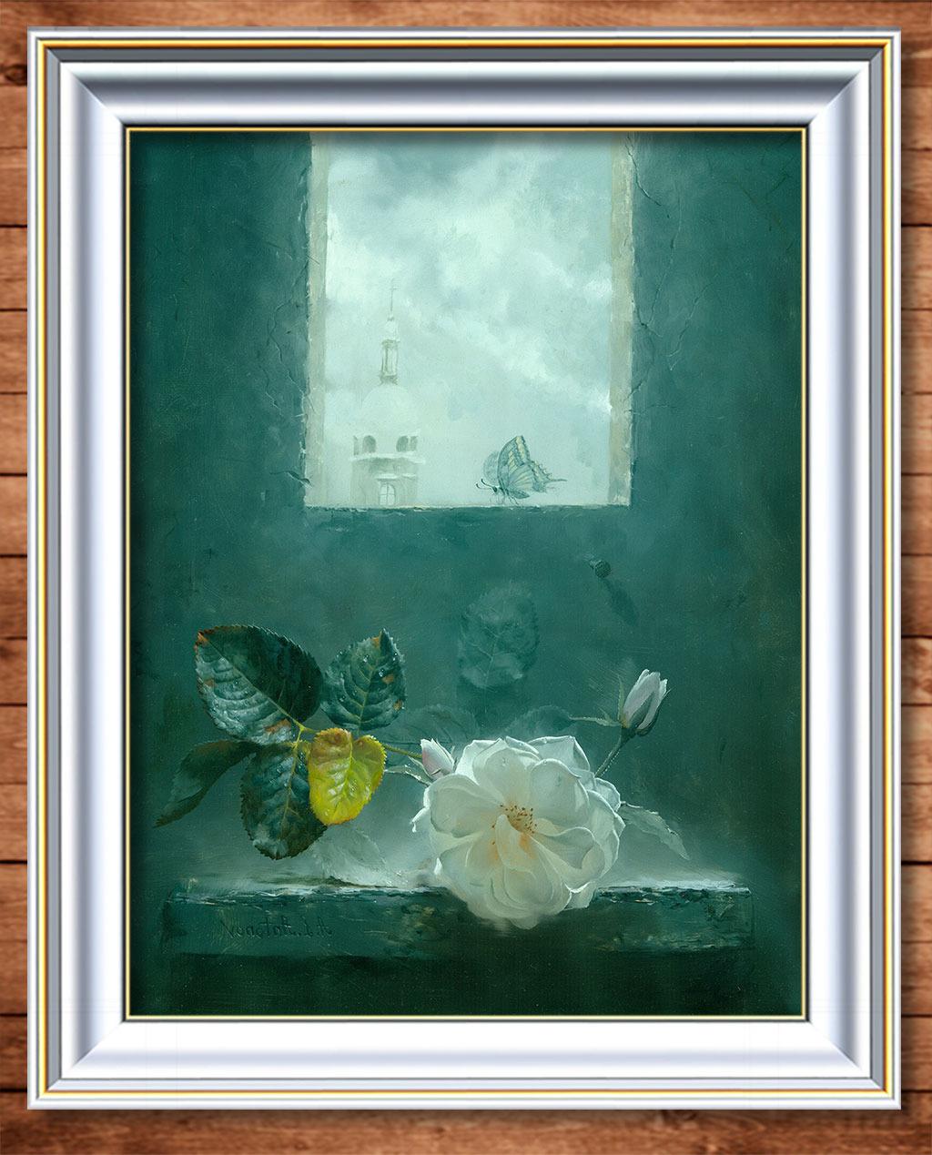 玫瑰花 白色/一朵白色玫瑰花超写实主义油画