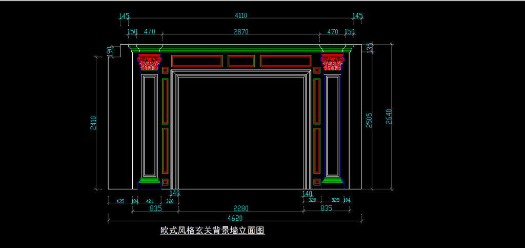 室内装修欧式玄关背景墙cad图纸设计下载