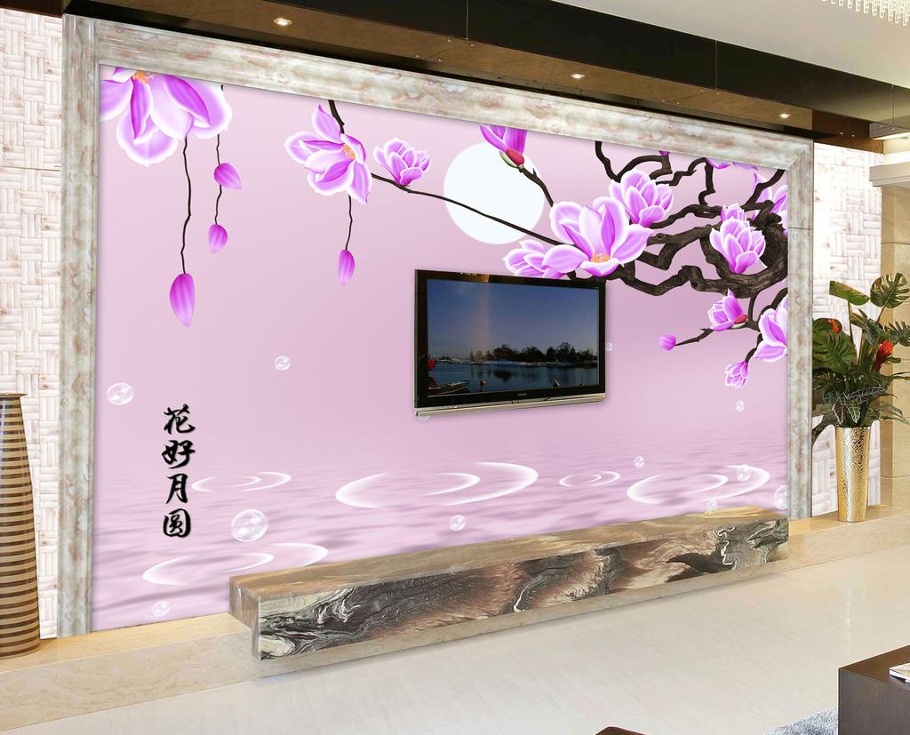 背景墙 装饰画 电视背景墙 手绘电视背景墙 > 电视背景墙粉色玉兰  下