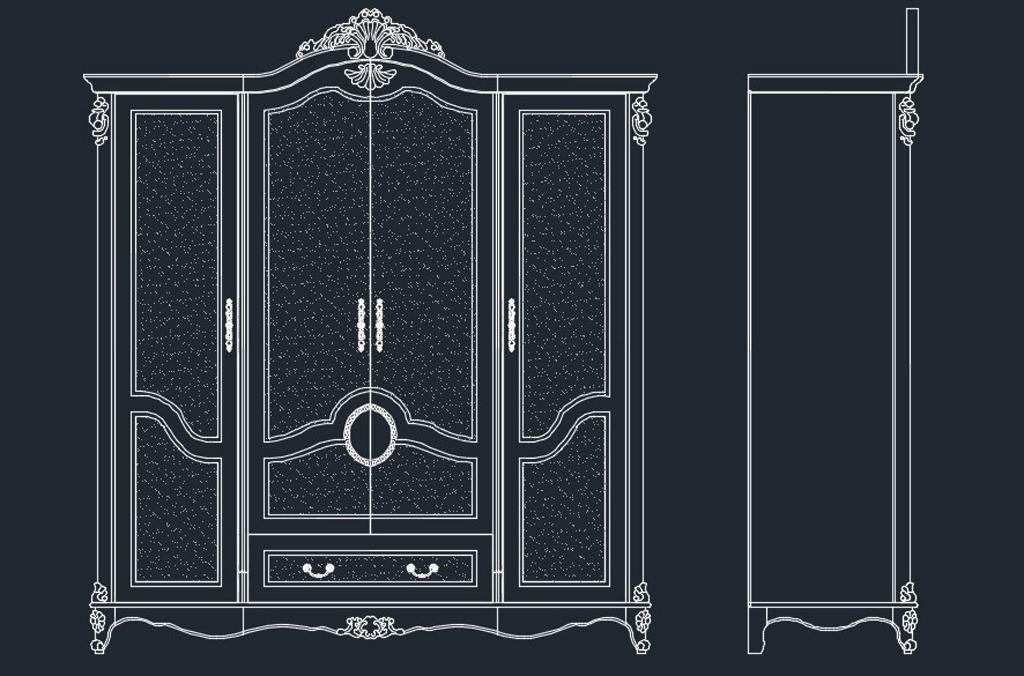 衣柜cad设计图 欧式四门衣柜