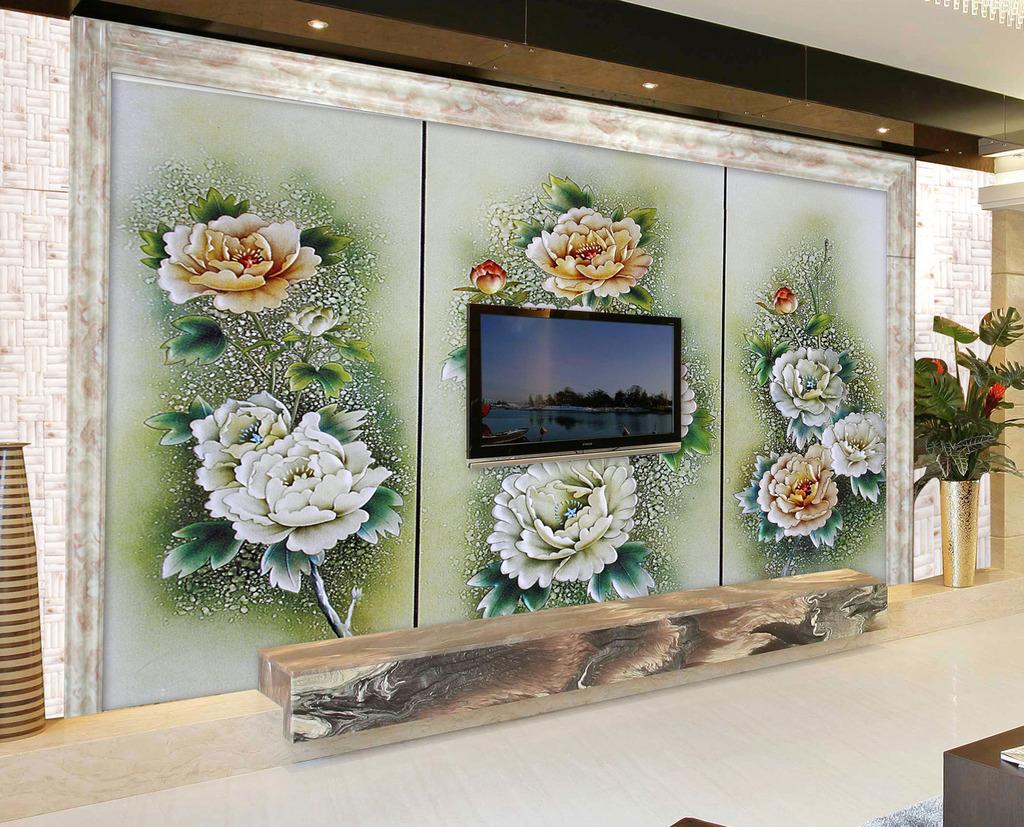 背景墙/[版权图片]浮雕牡丹背景墙