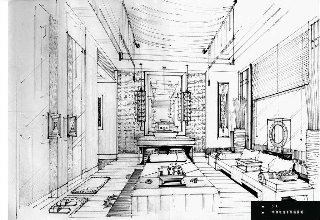 室内酒店手绘线稿