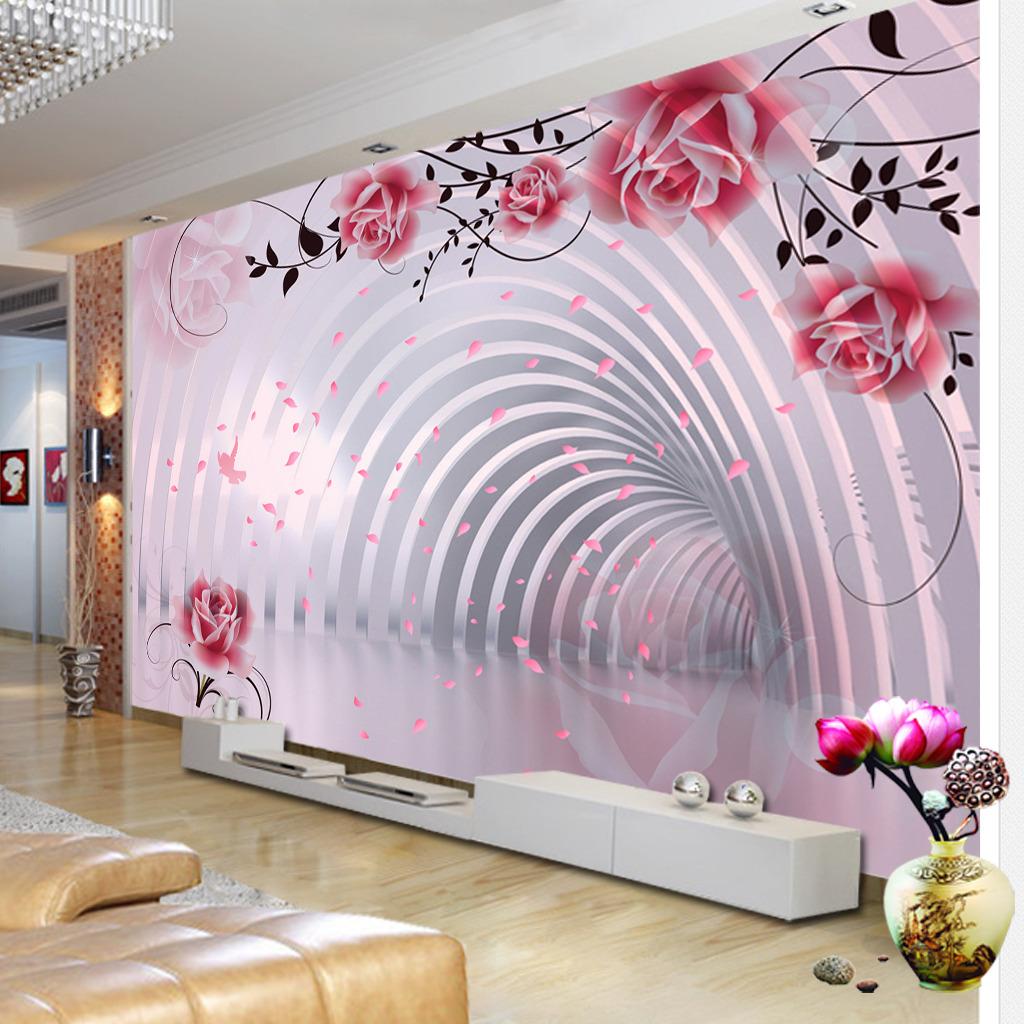 空间 背景墙 电视 装饰画/[版权图片]3D立体空间梦幻花朵电视背景墙装饰画