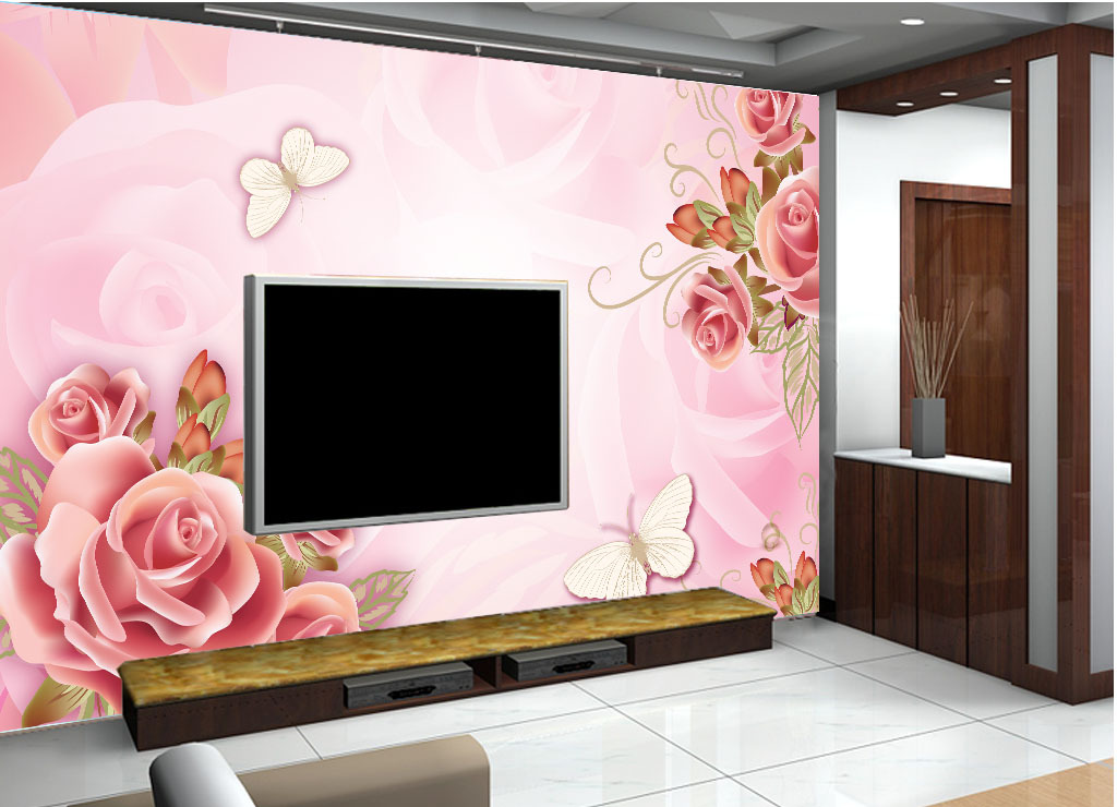 电视背墙贴欧式墙纸效果图