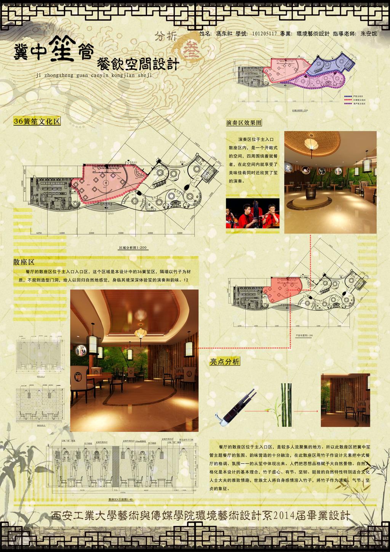 毕业设计展板模板下载 毕业设计展板图片下载 冀中笙管 餐饮空间 设