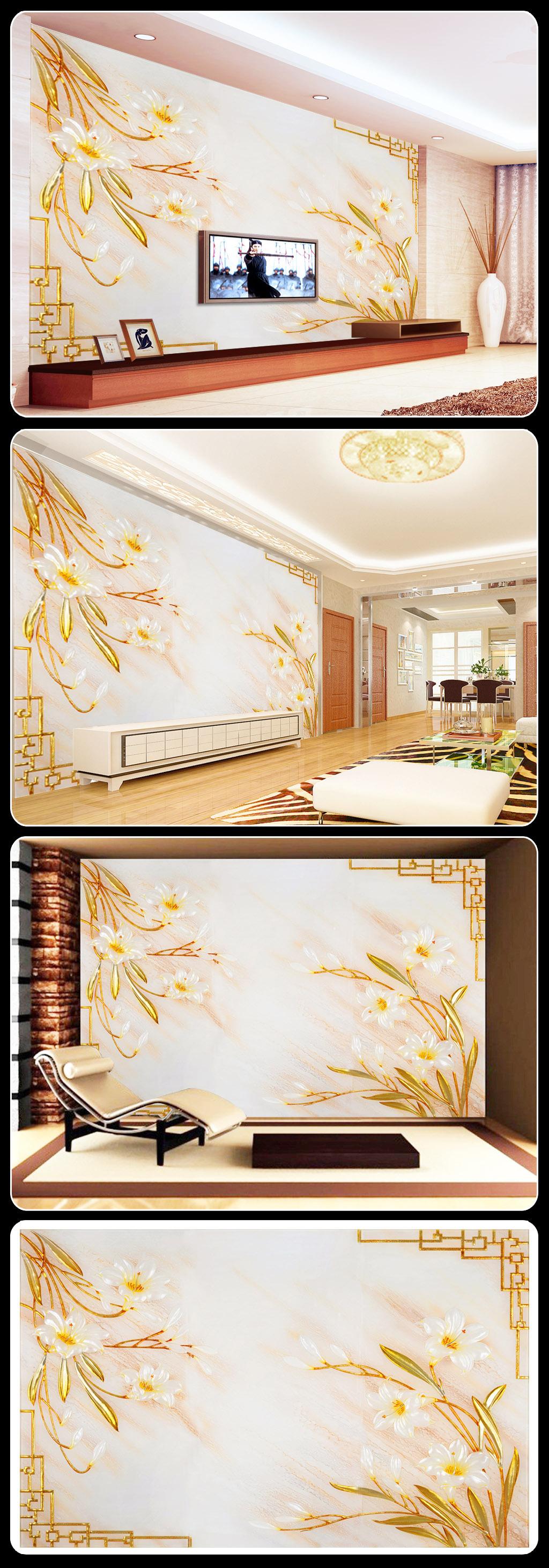 背景墙 客厅 玻璃/[版权图片]彩雕玉兰花朵花卉艺术玻璃客厅背景墙图片