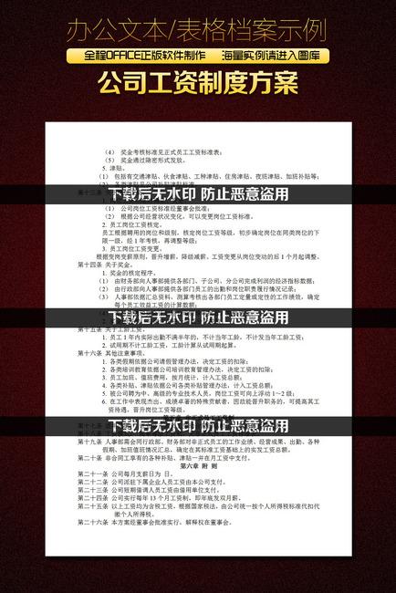 公司工资制度方案word文档模板下载(图片编号:)