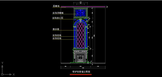 室内装修欧式壁炉背景墙cad图纸设计下载