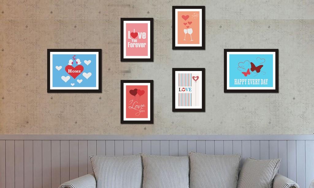 手绘插画背景画 爱心照片墙 婚房装饰画 爱情 唯美浪漫装饰画 客厅