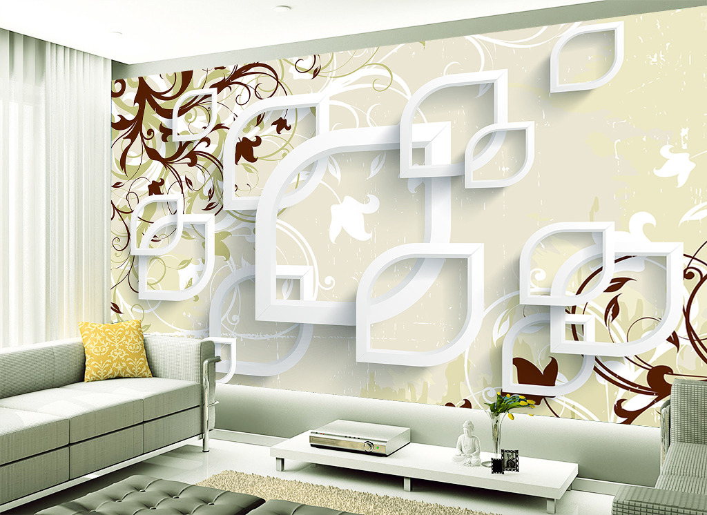 3d立体藤蔓树叶电视背景墙壁画