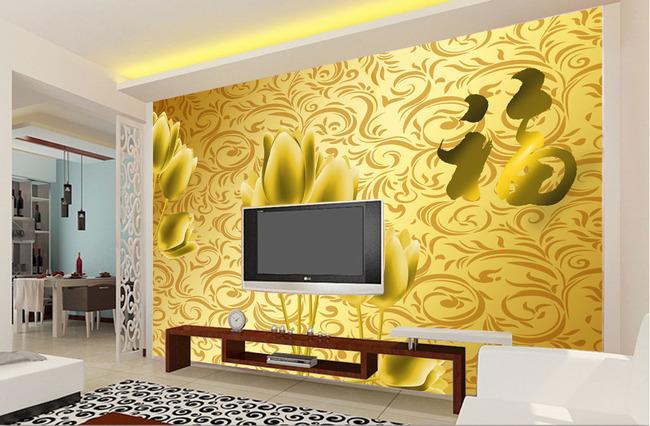 金色郁金香电视背景墙