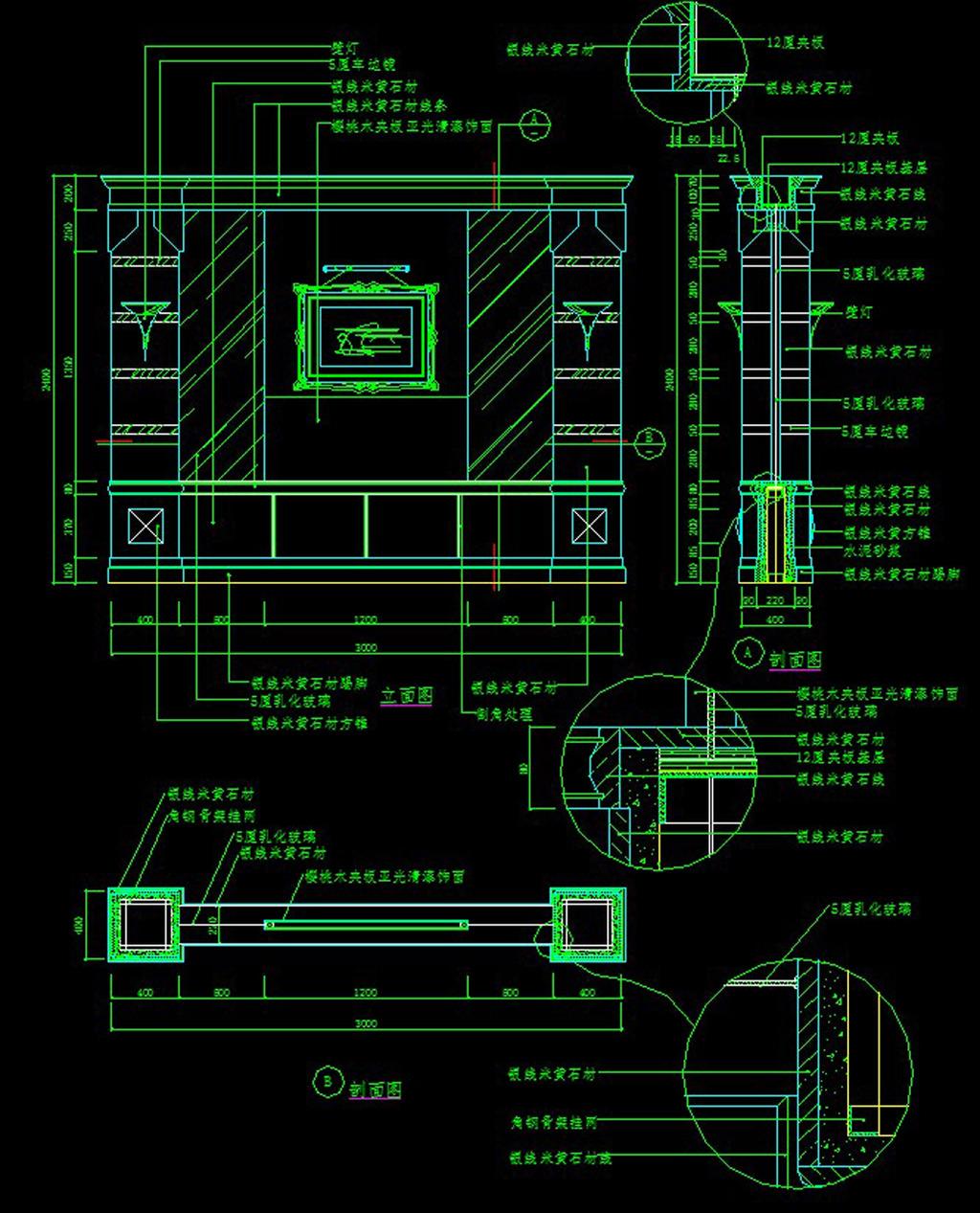 欧式壁炉节点详图cad图
