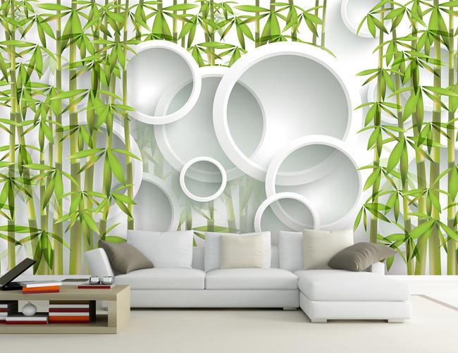 竹林竹子3d客厅电视沙发背景墙
