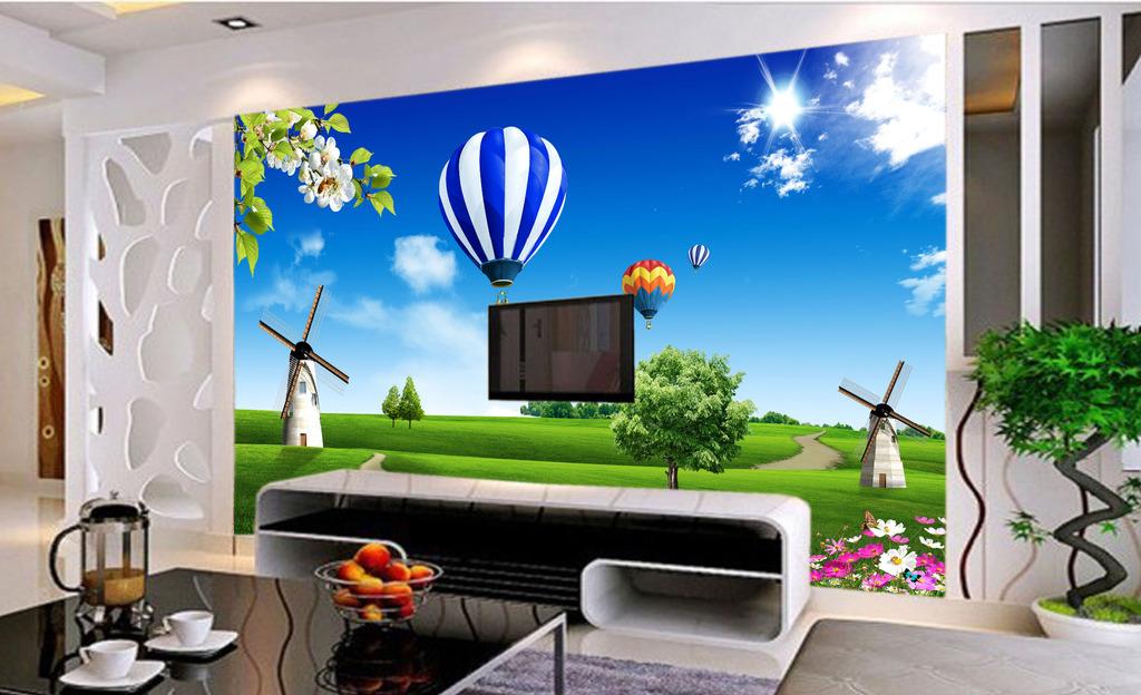 绿色风景电视背景墙