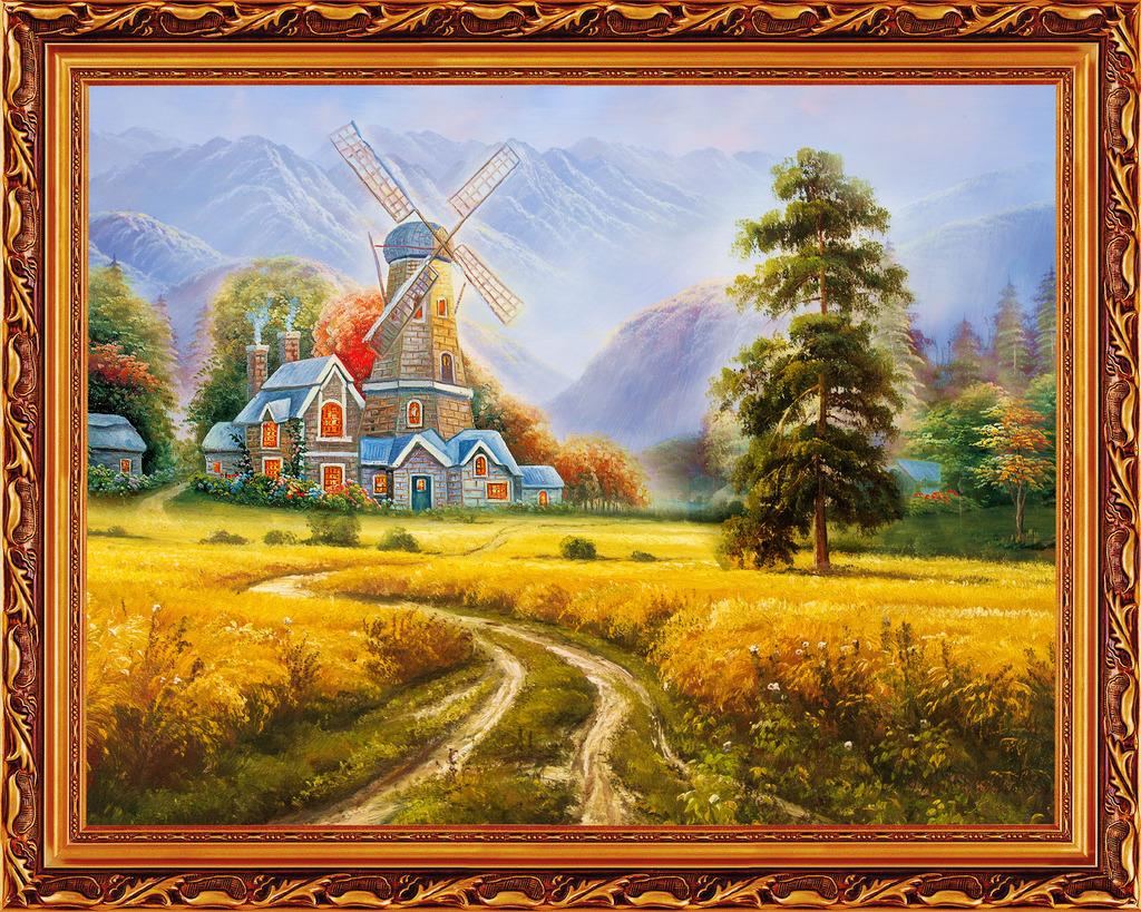 风景油画模板下载 风景油画图片下载 四季发财 流水生财 江山多娇