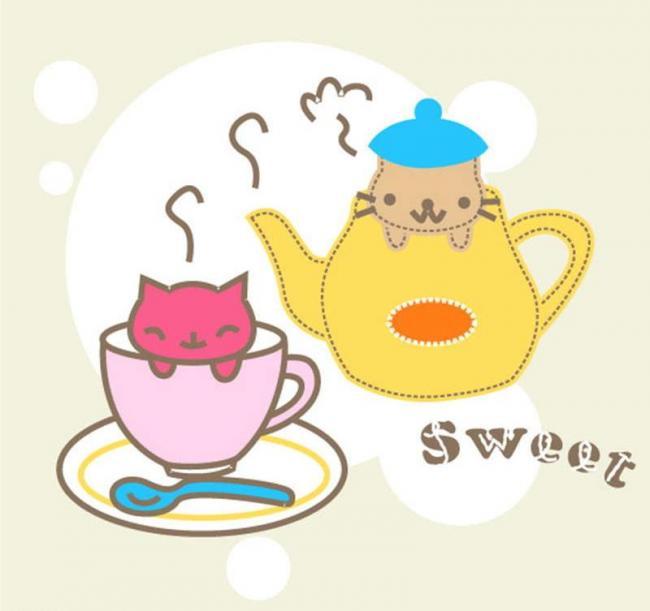 水杯 小猫 可爱 宠物 插画 背景画 动漫 卡通 时尚背景 背景元素 图画