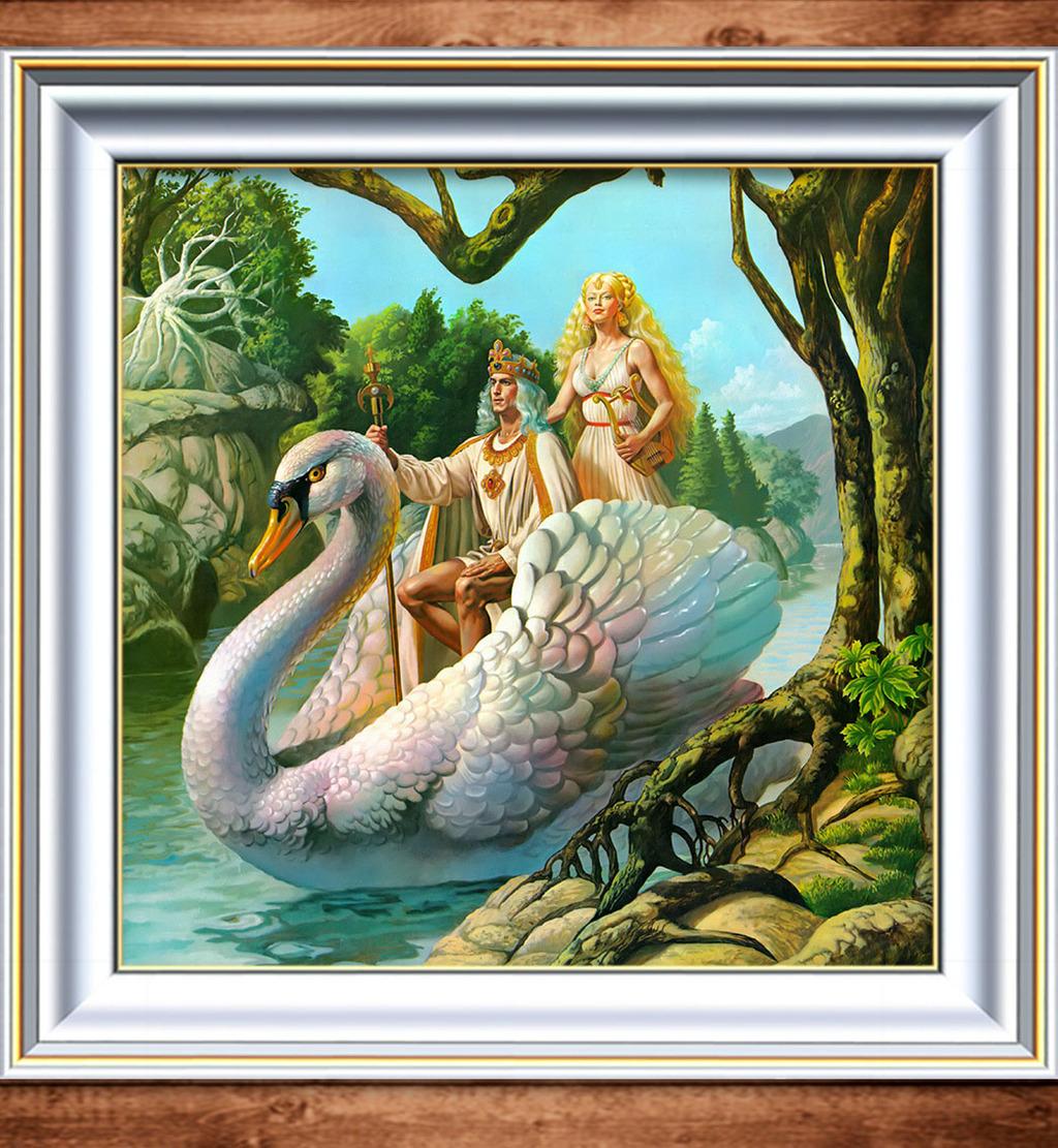 油画 皇后/[版权图片]天鹅上的国王与皇后梦幻油画