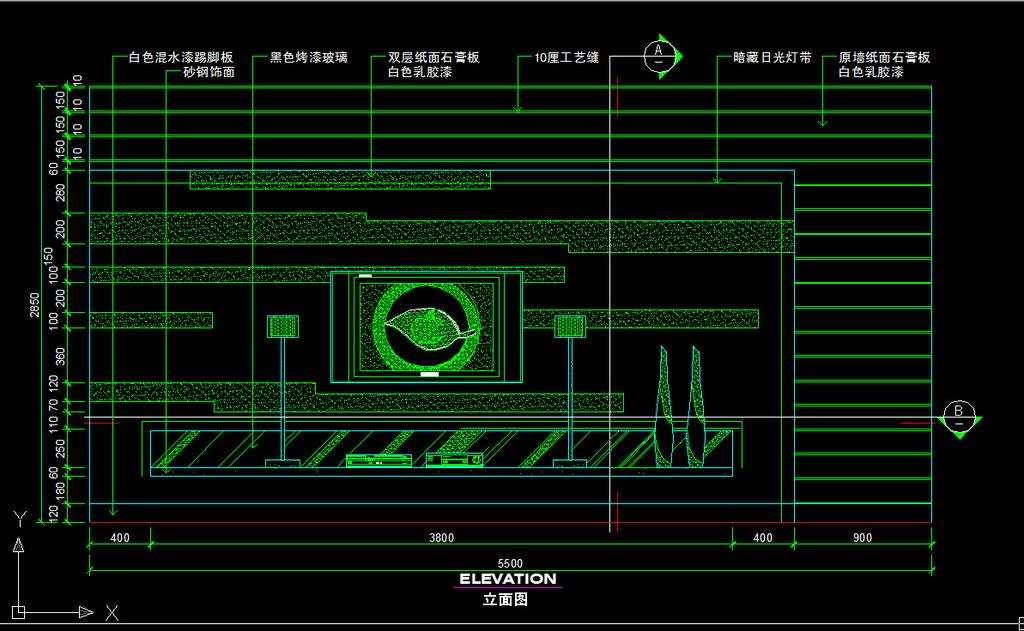 电视背景墙节点详图cad施工图下载