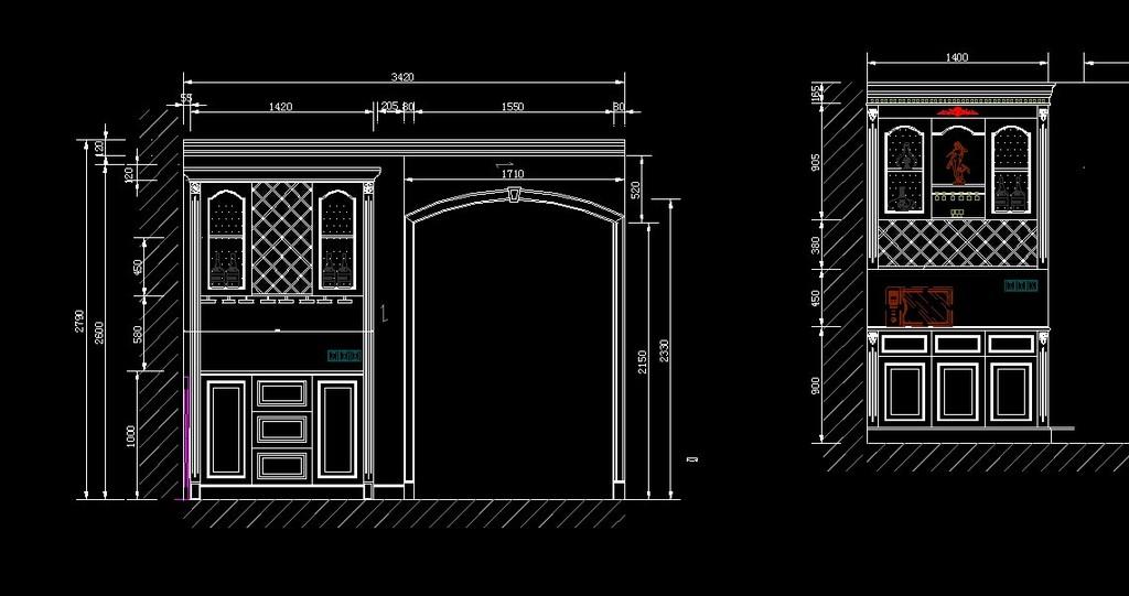 实木吊顶 cad立面图 cad实木墙板 cad雕花板 客厅实木设计图 家具设计