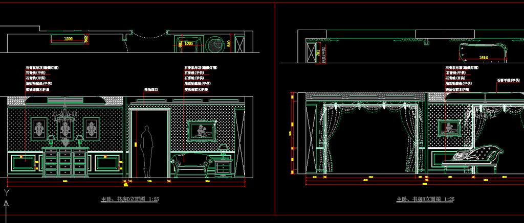 室内二层装修cad施工图设计下载