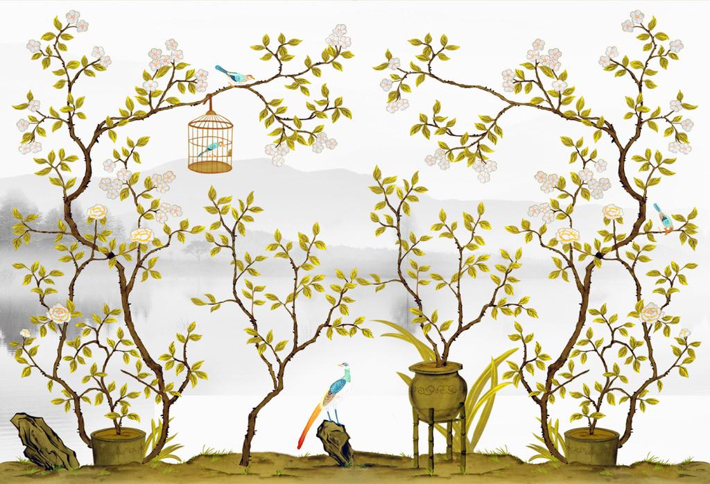 床头背景 手绘图 欧式花鸟 欧式风格 美式风格 时尚花鸟 简欧简约