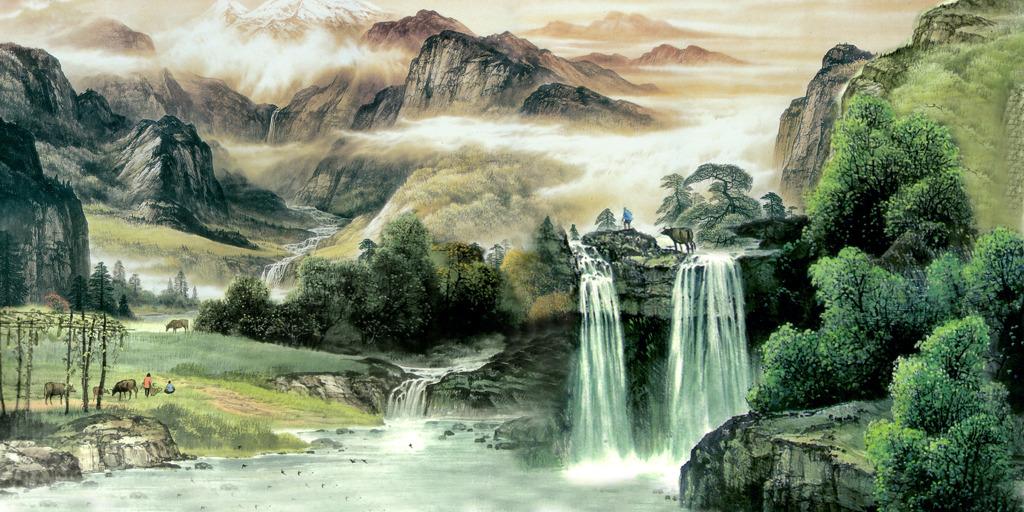 国画山水风景画高山流水客厅沙发背景墙