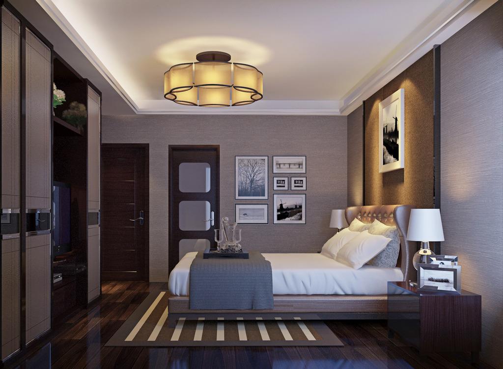 我图网提供精品流行 3d现代中式卧室模型带高清效果图材质素材 下载,作品模板源文件可以编辑替换,设计作品简介: 3d现代中式卧室模型带高清效果图材质, , 使用软件为 3DMAX 2012(.max) 3D主卧室设计模型 高清主卧室图片下载 主卧室3D设计模板 吊灯 双人床 卫生间门 房门 硬包 新中式 大理石 现代简约电视背景墙 家装 地毯 大理石背景墙