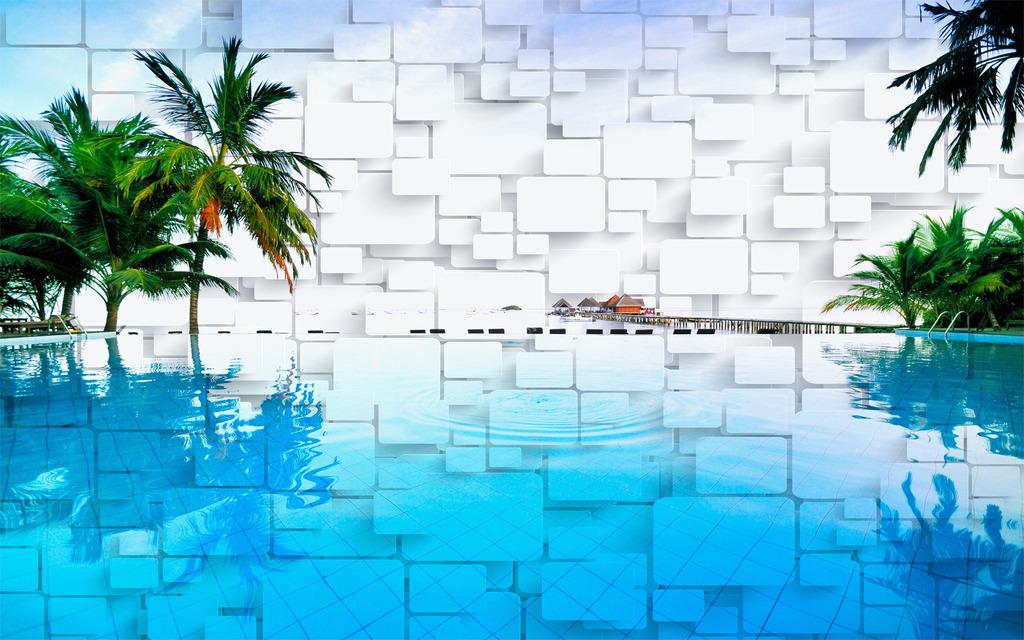 3d椰树风景电视背景墙