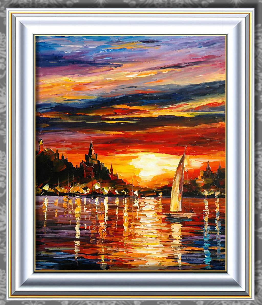 夜色下的海港白帆风景油画