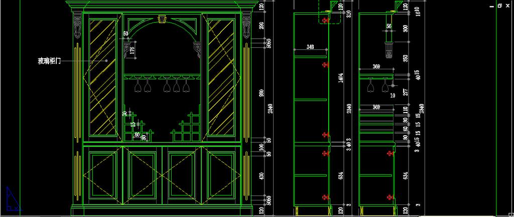 最新室内cad图整木家居家装欧式酒柜设计图片