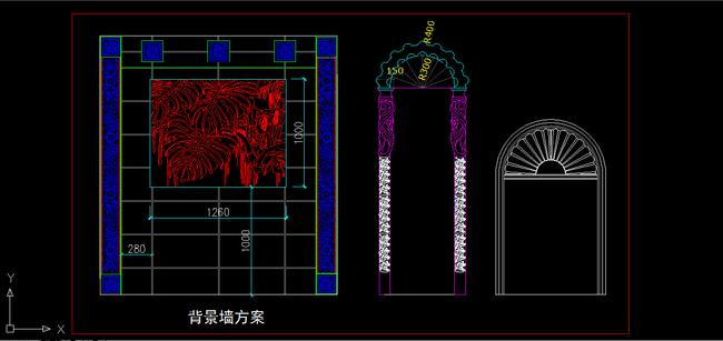室内装修欧式背景墙立面图cad图纸设计