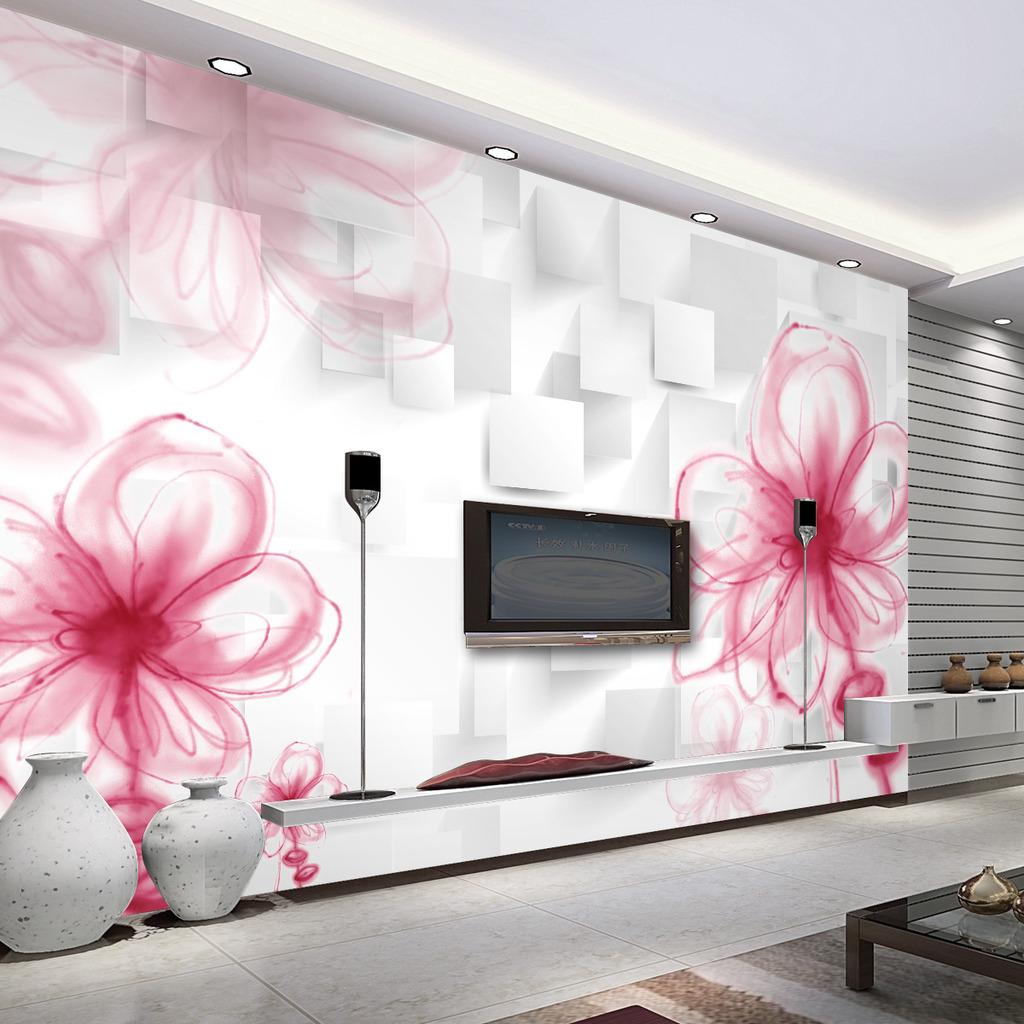 手绘温馨花卉3d客厅电视沙发背景墙