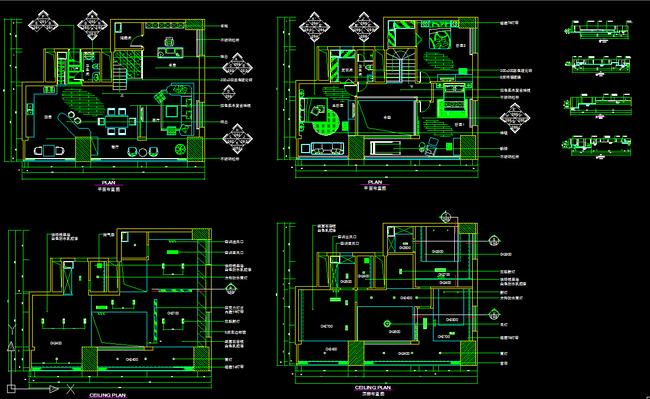 施工图立面图 剖面图 建筑设计 装修设计 复式楼装修套图 cad平面设计图片