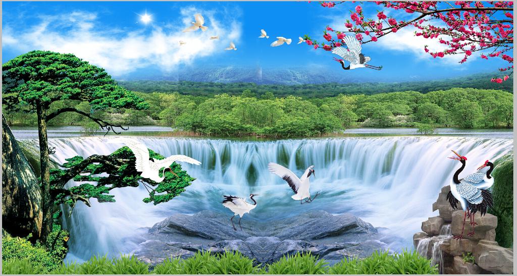 仙鹤 风景画 大气 层山 鲜花 石头 划船 高山流水 山景 山水秀丽 桃花