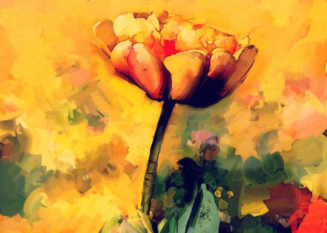 现代时尚简约风格手绘花朵虞美人油画