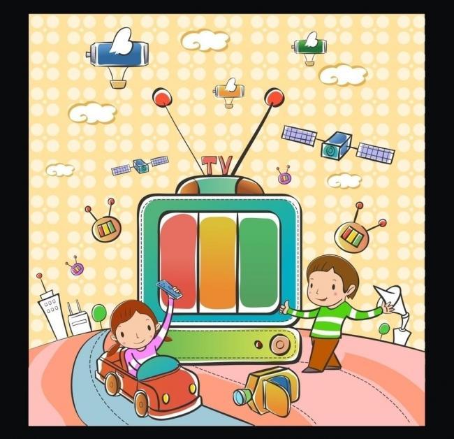 卡通儿童插画 卡通儿童游玩 卡通背景 矢量儿童 电视机 小车 儿童开车