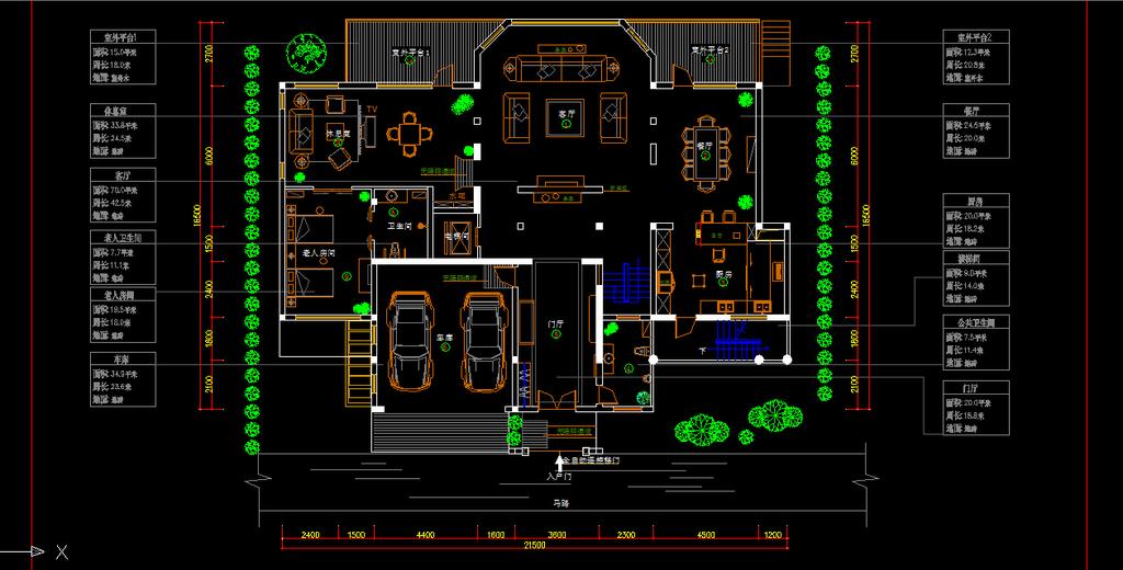 室内装修别墅cad施工图纸2设计