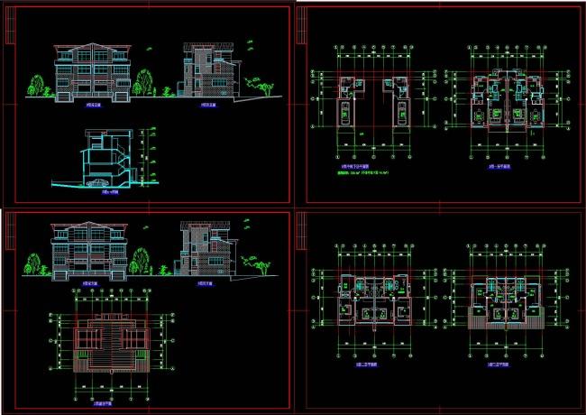 乡村别墅建筑cad施工图模板下载