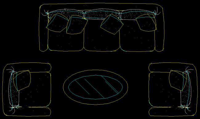 图纸 家装cad图块 三加二沙发组合cad 家装cad免费下载 圆形茶几cad