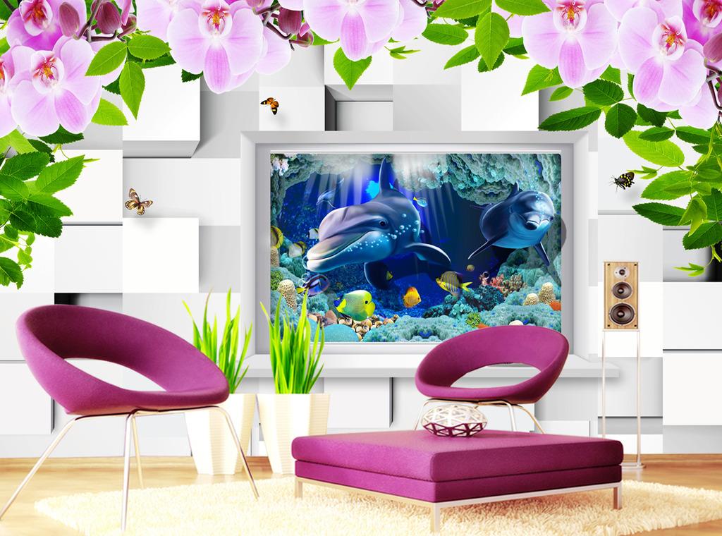 3d方框海豚电视背景墙