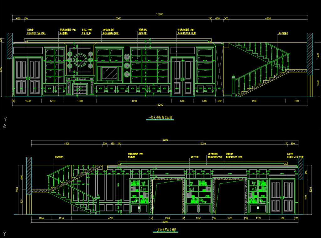 室内装修别墅立面cad施工图纸6设计