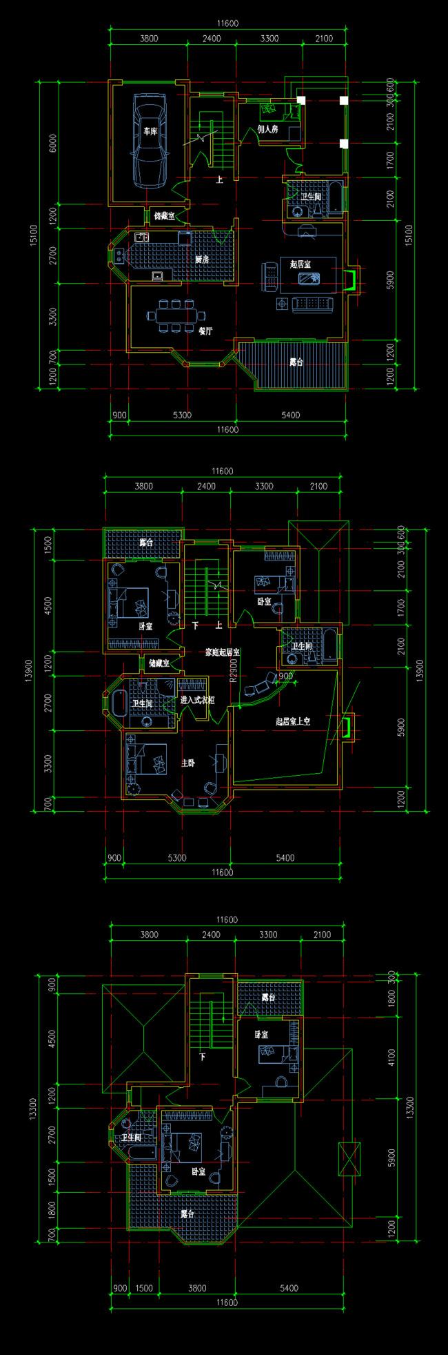 别墅建筑cad三视图模板下载(图片编号:12184834)