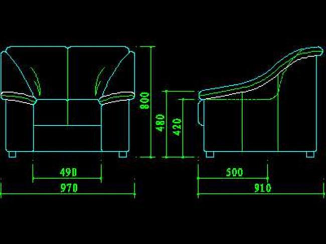 沙发cad图纸平面设计图