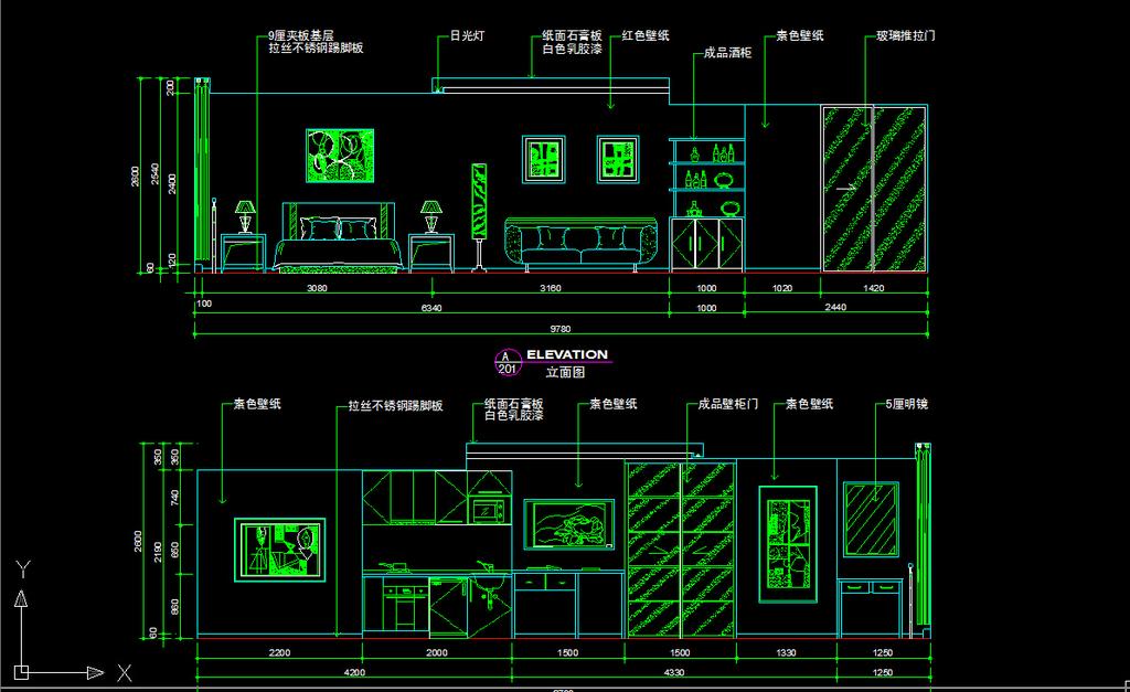 室内装修小户型cad图纸设计下载