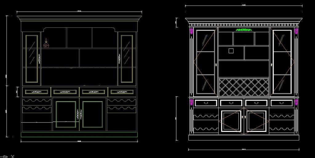 实木酒柜设计图