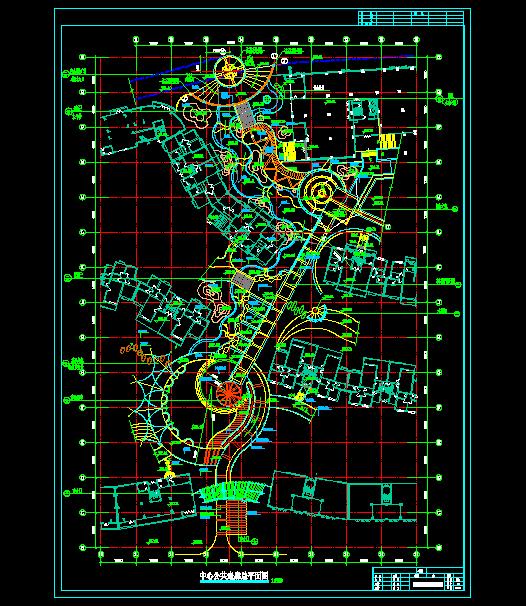 住宅小区景观cad施工图模板下载